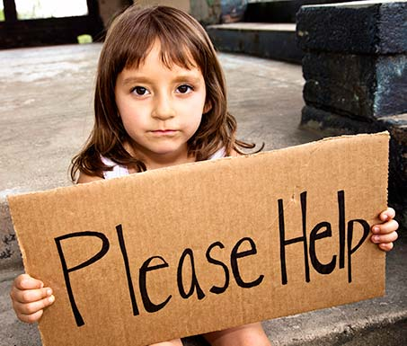 Little girl asking for help